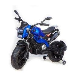 Детский электромотоцикл Harley Davidson - DLS01 синий глянцевый (колеса резина, кресло кожа, ручка газа, музыка, свет)